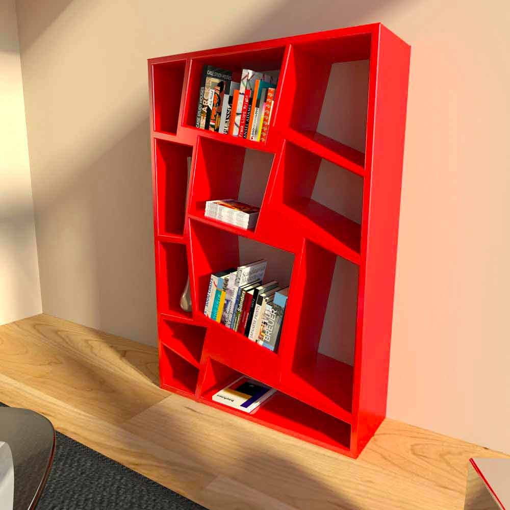 biblioth que de design moderne verte rouge ou blanche. Black Bedroom Furniture Sets. Home Design Ideas