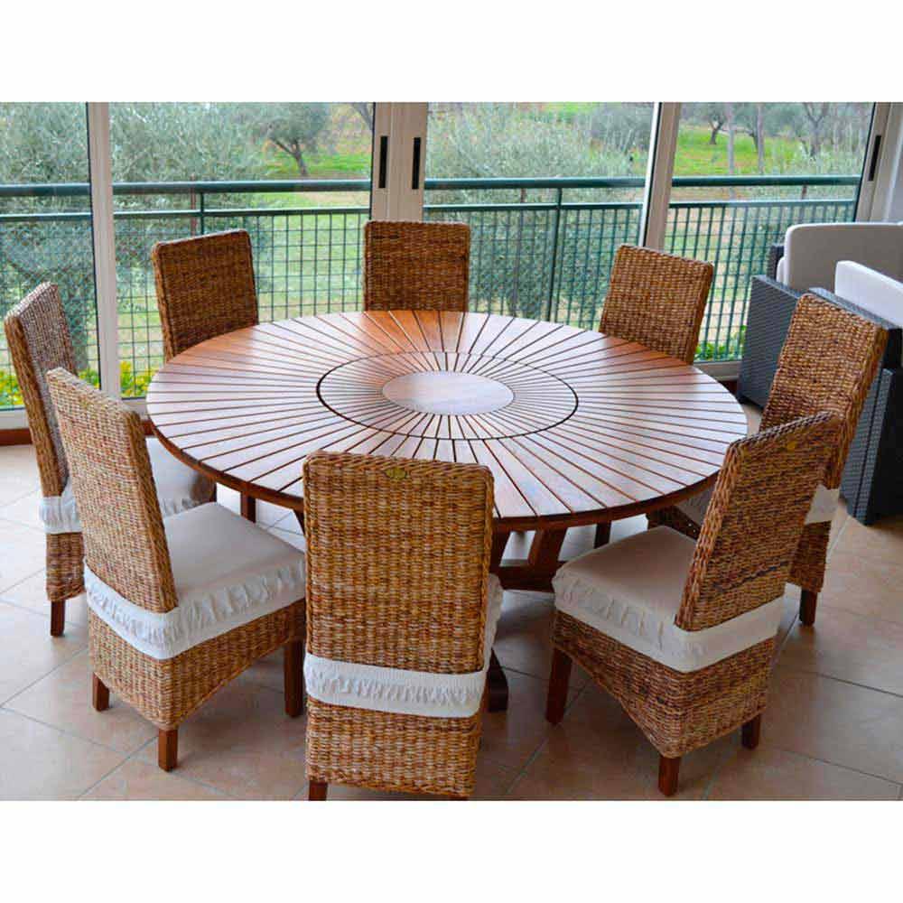 grande table ronde de jardin en teak massif real table. Black Bedroom Furniture Sets. Home Design Ideas