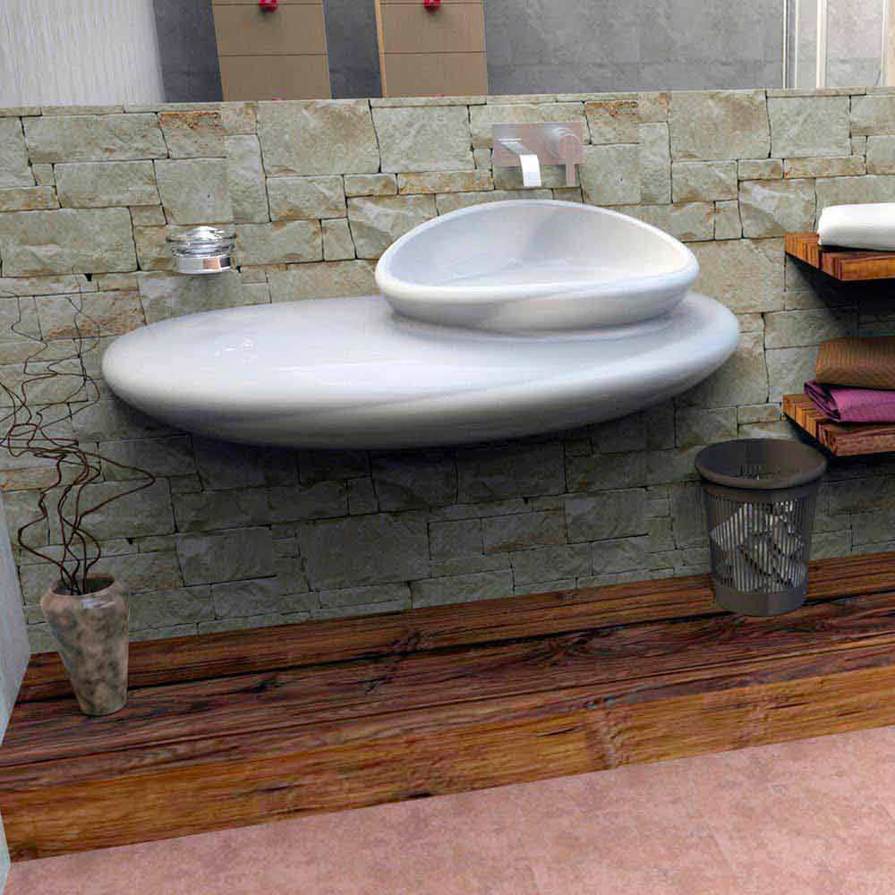 lavabo suspendu de design moderne fait en italie stone. Black Bedroom Furniture Sets. Home Design Ideas