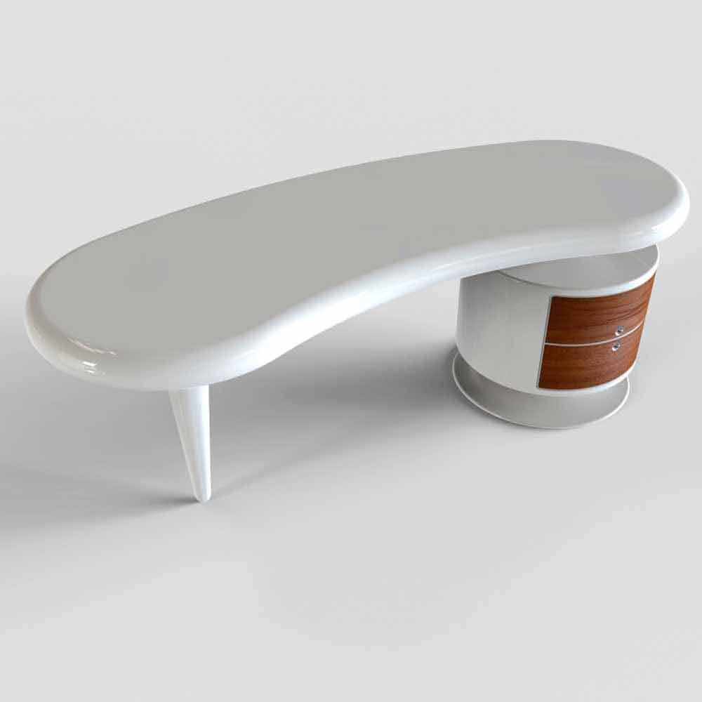 bureau moderne blanc rouge et noir bean. Black Bedroom Furniture Sets. Home Design Ideas
