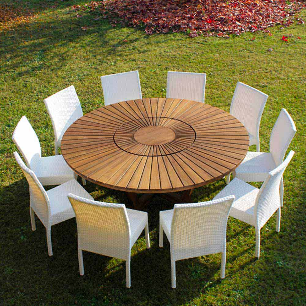 Grande table ronde de jardin en teak massif real table for Table exterieur 10 personnes
