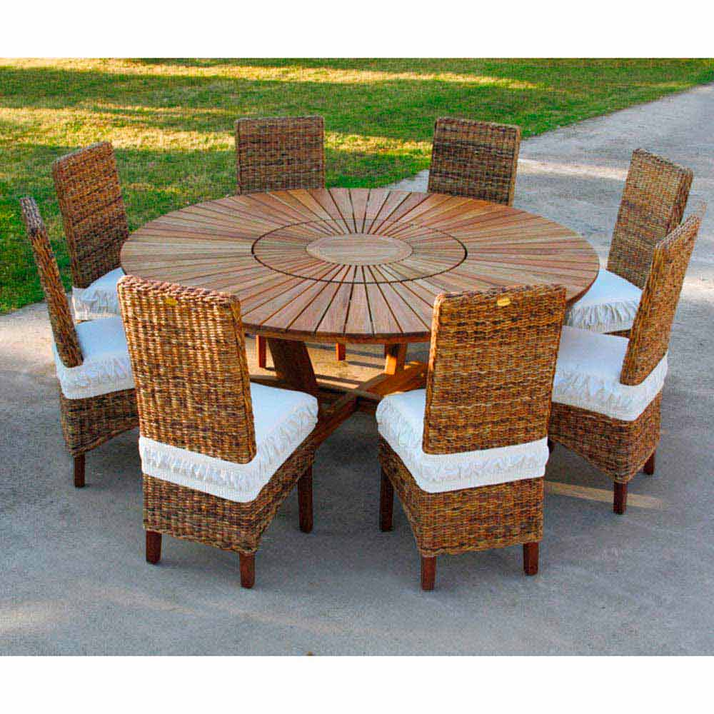 Grande table ronde de jardin en teak massif real table - Table en teck exterieur ...