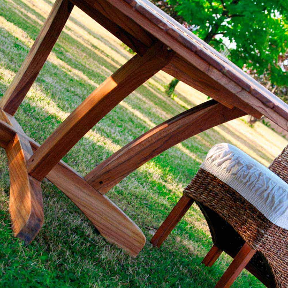 Grande table ronde de jardin en teak massif real table - Fabriquer table ronde ...