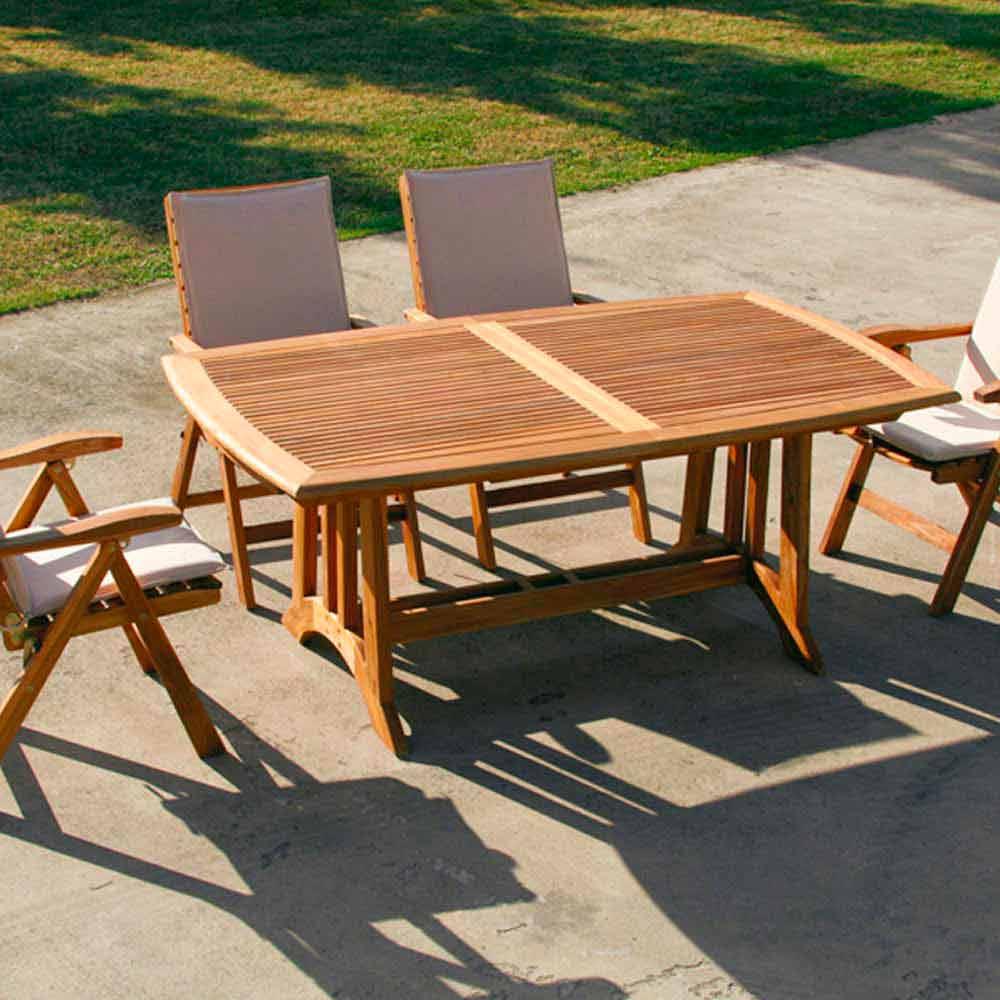 Table De Jardin Bois: Table De Jardin Extensible Faite En Bois De Teck Amalfi