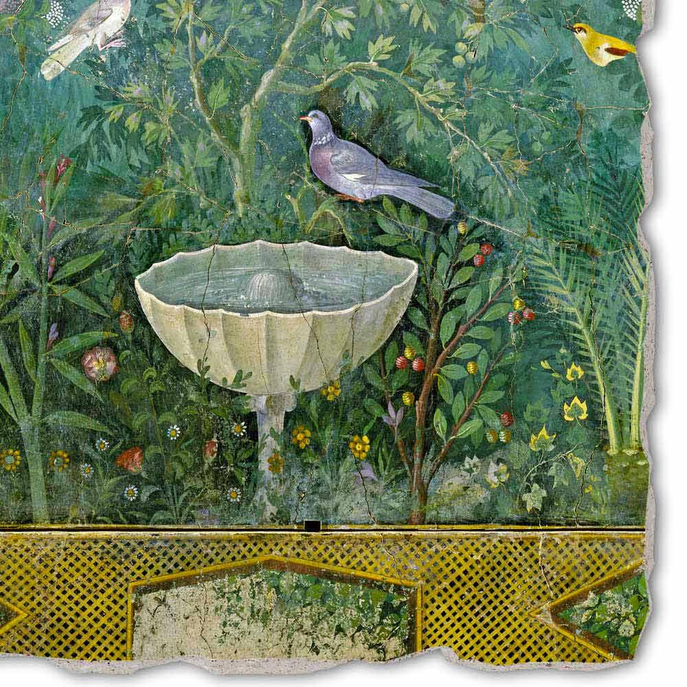 Fresque jardin avec fontaine art romain peinte la main - Arte e giardino ...