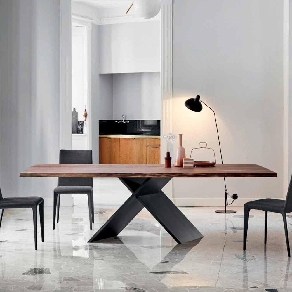 Bonaldo ax table design en bois avec bords naturels faite for Viadurini tavoli