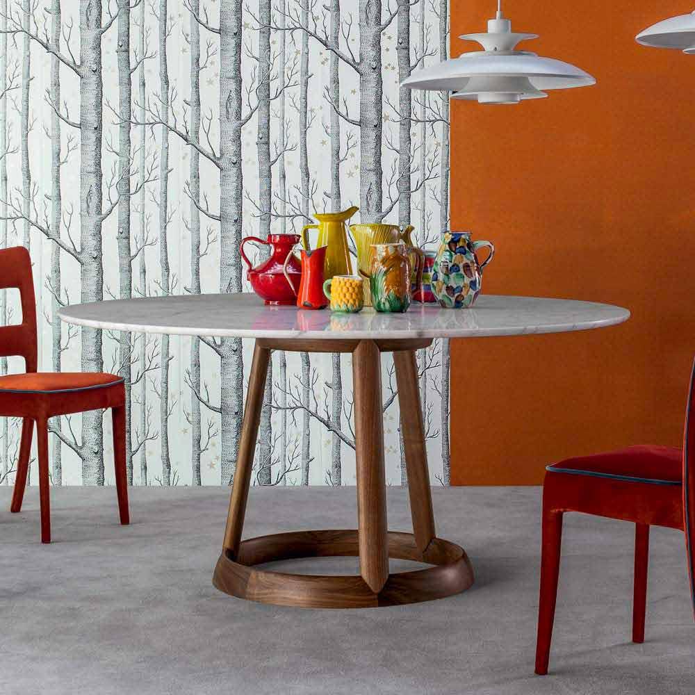 bonaldo greeny table ronde plateau marbre calacatta faite. Black Bedroom Furniture Sets. Home Design Ideas