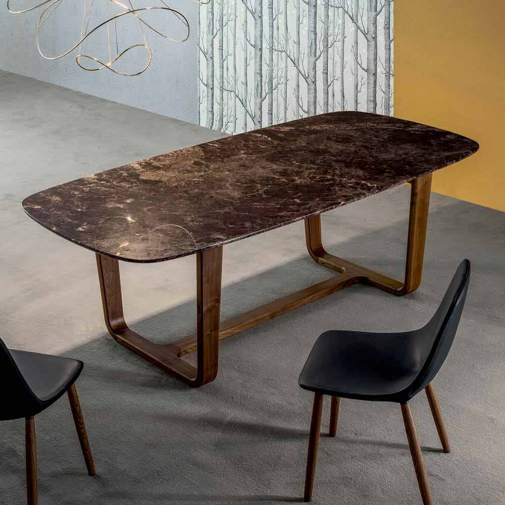 bonaldo medley table de design italien plateau marbre et jambes bois. Black Bedroom Furniture Sets. Home Design Ideas
