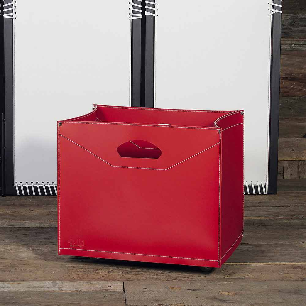 Porte b ches design en cuir roulettes made in italy - Porte buche exterieur ...