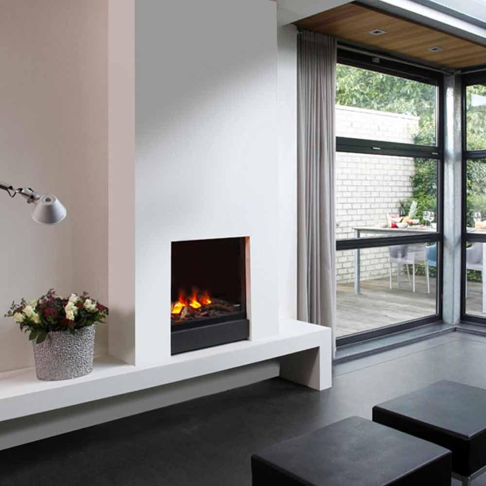 Foyer Electrique Design W Effet Flammes : Cheminée électrique encastrable newport effet flamme et
