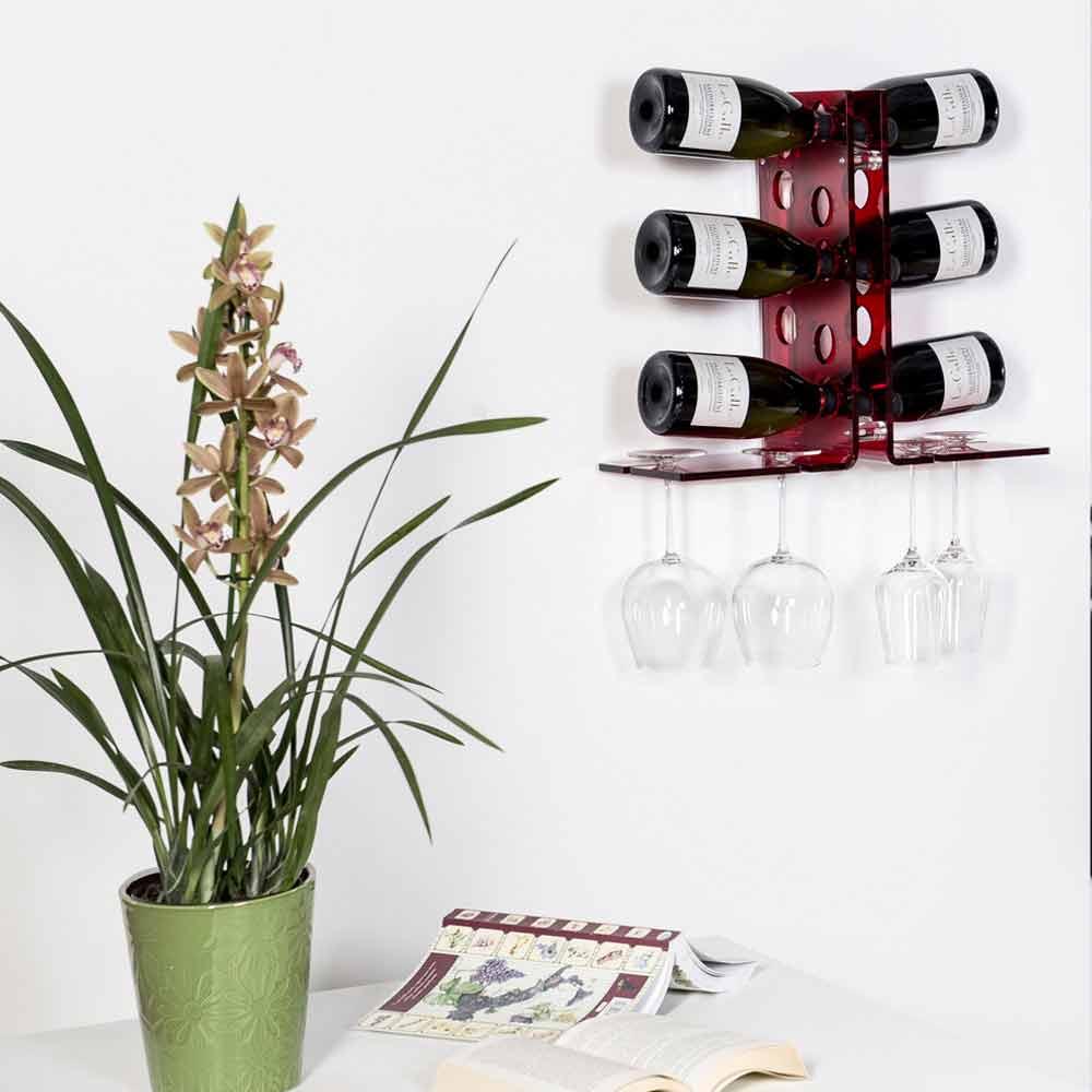 porte bouteilles mural rouge de design moderne luna. Black Bedroom Furniture Sets. Home Design Ideas