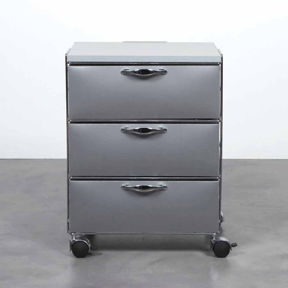 commode moderne avec 3 tiroirs en polypropyl ne blanc ou gris adam. Black Bedroom Furniture Sets. Home Design Ideas