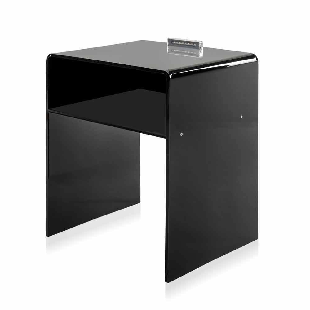 Table de chevet noire lumineuse led adelia faite en italie for Table de chevet cube lumineux