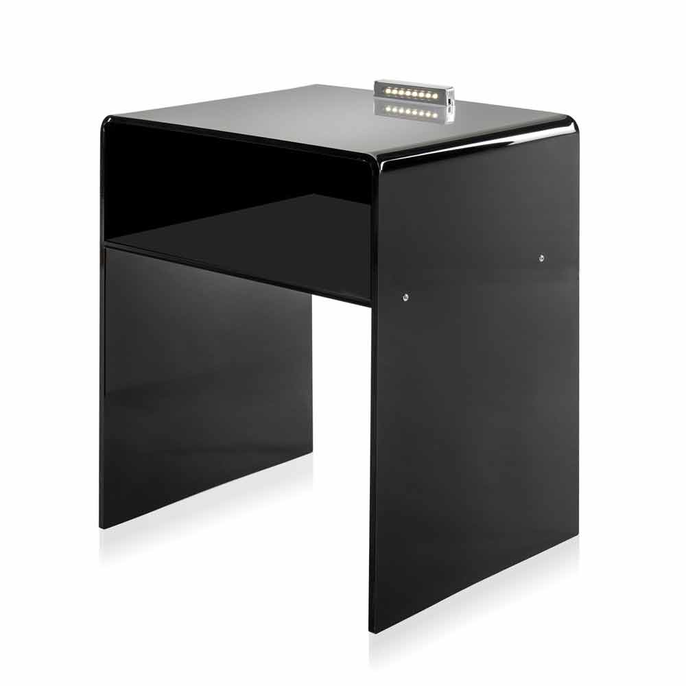 table de chevet noire lumineuse led adelia faite en italie chevets commodes et cabinets. Black Bedroom Furniture Sets. Home Design Ideas