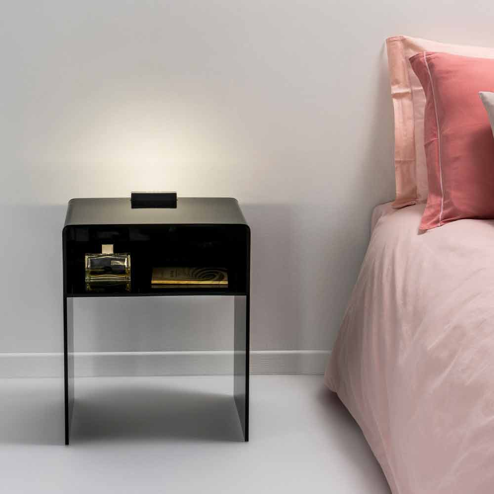 table de chevet noire lumineuse led adelia faite en. Black Bedroom Furniture Sets. Home Design Ideas