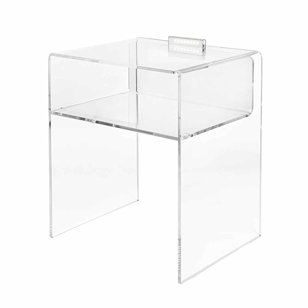 table de chevet transparente lumineuse led adelia. Black Bedroom Furniture Sets. Home Design Ideas