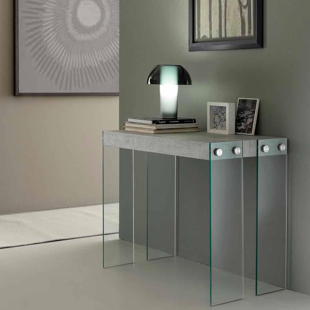 console extensible de design moderne avec pieds en verre tremp miss. Black Bedroom Furniture Sets. Home Design Ideas