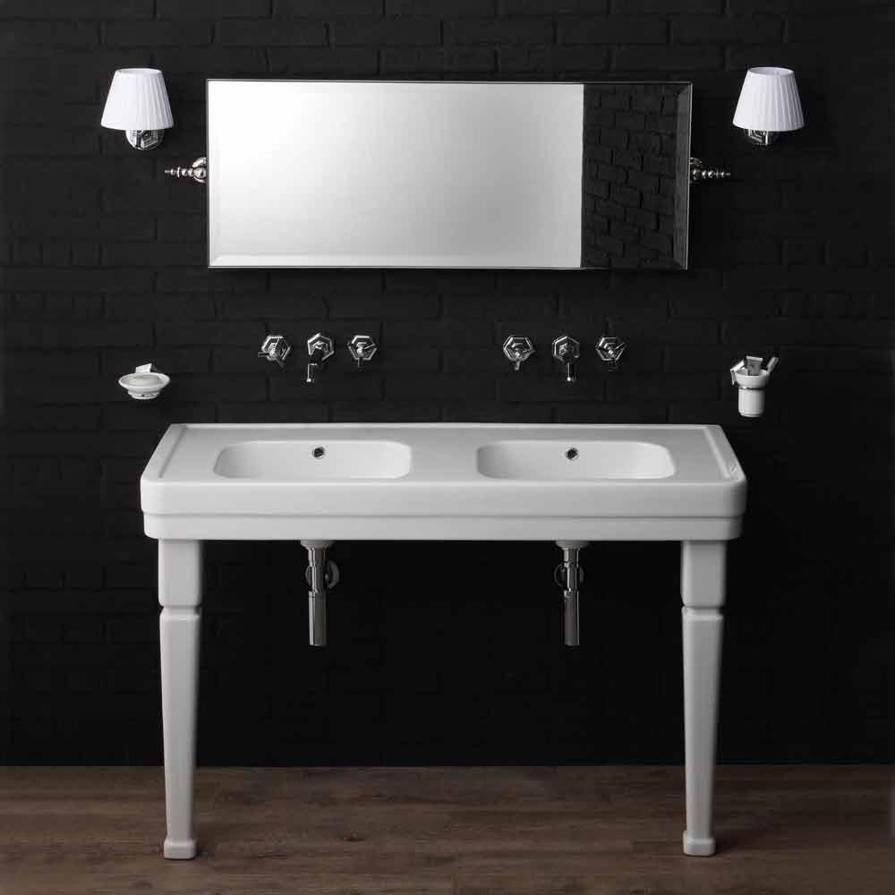 console salle de bain double vasque avec pieds en. Black Bedroom Furniture Sets. Home Design Ideas