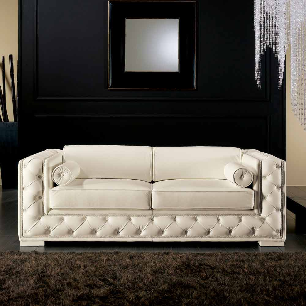 canap italien 2 places en cuir blanc de style classique. Black Bedroom Furniture Sets. Home Design Ideas