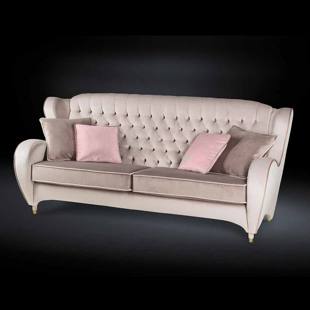 canap capitonn en velour schinke de style new classic. Black Bedroom Furniture Sets. Home Design Ideas