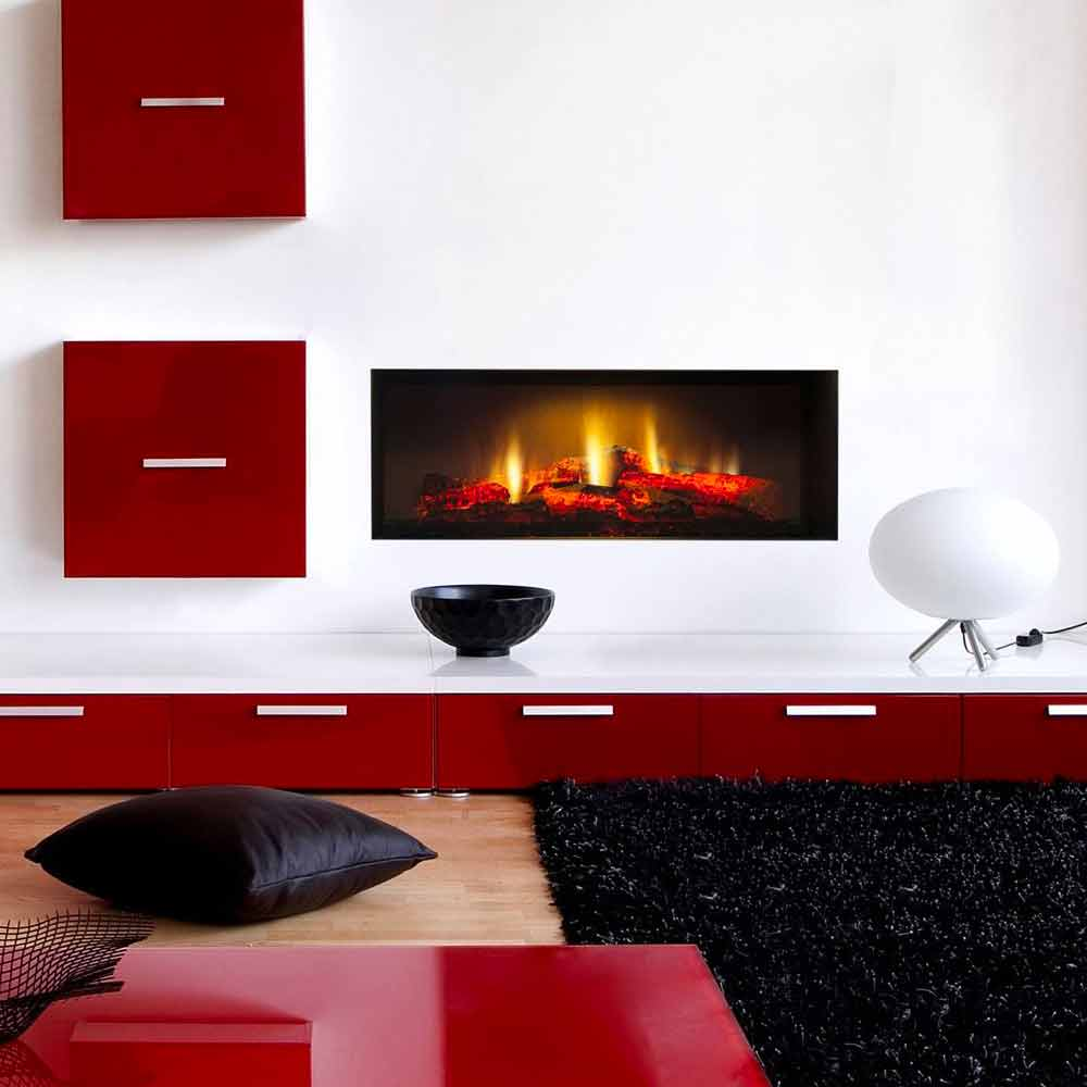fausse chemin e lectrique d corative murale encastrable edimburgo feu en hd. Black Bedroom Furniture Sets. Home Design Ideas