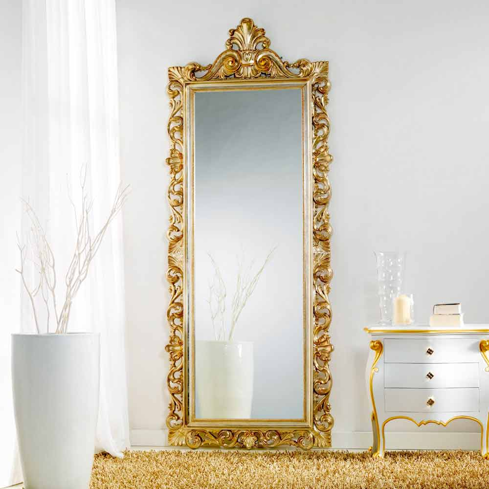 Grand miroir de sol murale de design classique tiara 86x220 cm for Grand miroir sol