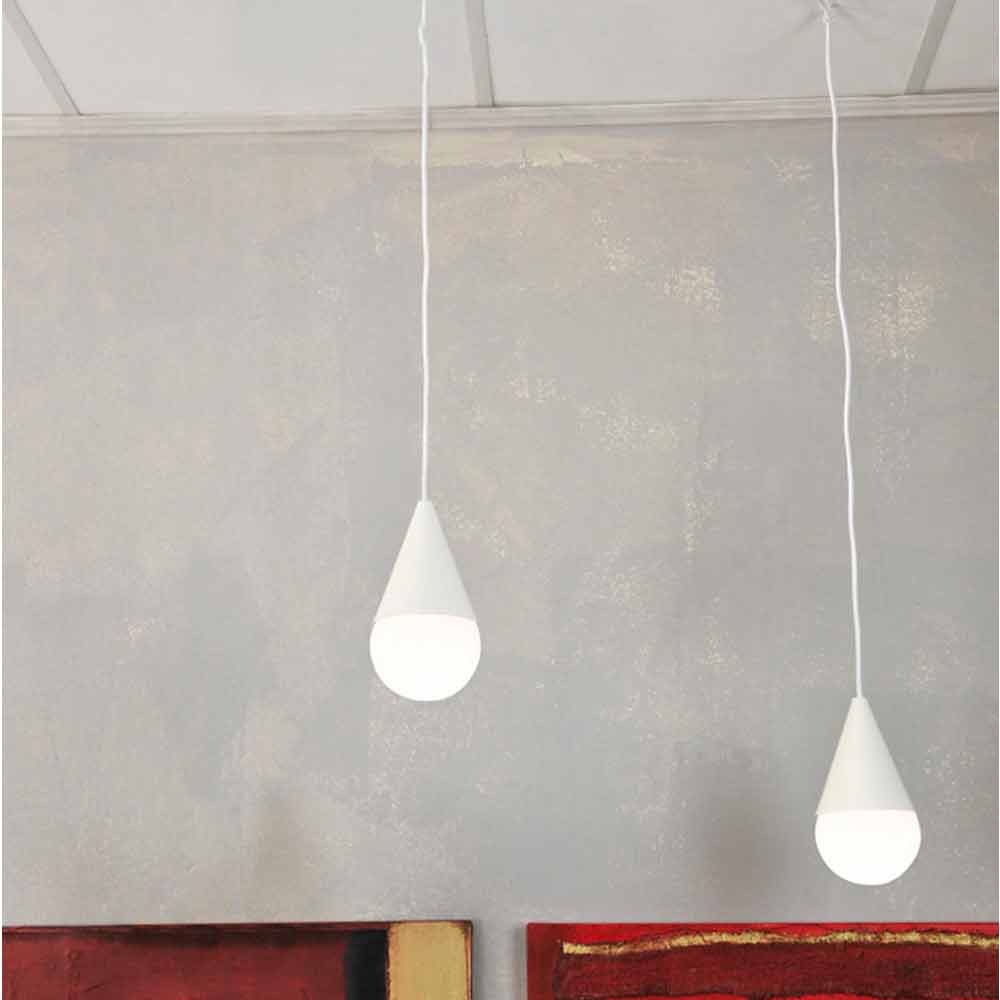 suspension blanche 2 ampoules de design moderne drop. Black Bedroom Furniture Sets. Home Design Ideas