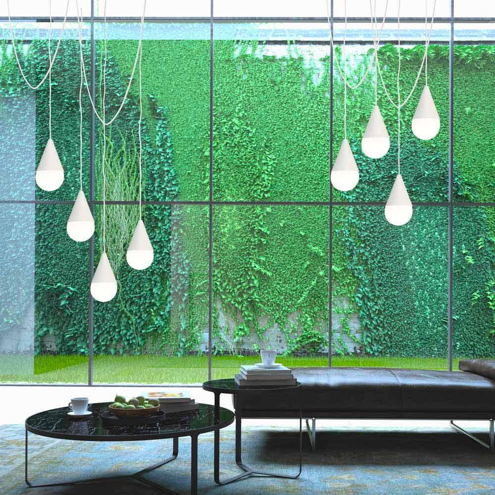 Lampe suspension blanche à 8 lumières drop design moderne