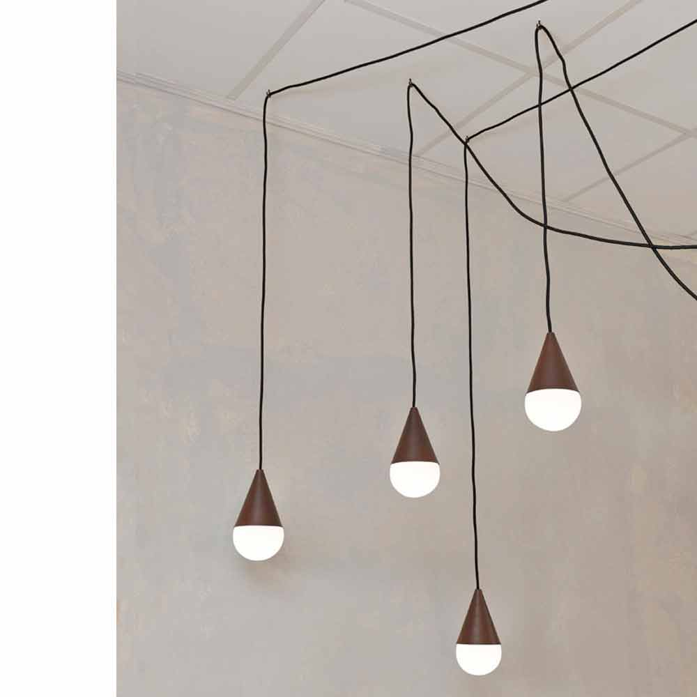 Lampe suspension moderne avec 4 lumi res drop couleur corten for Suspension moderne salon