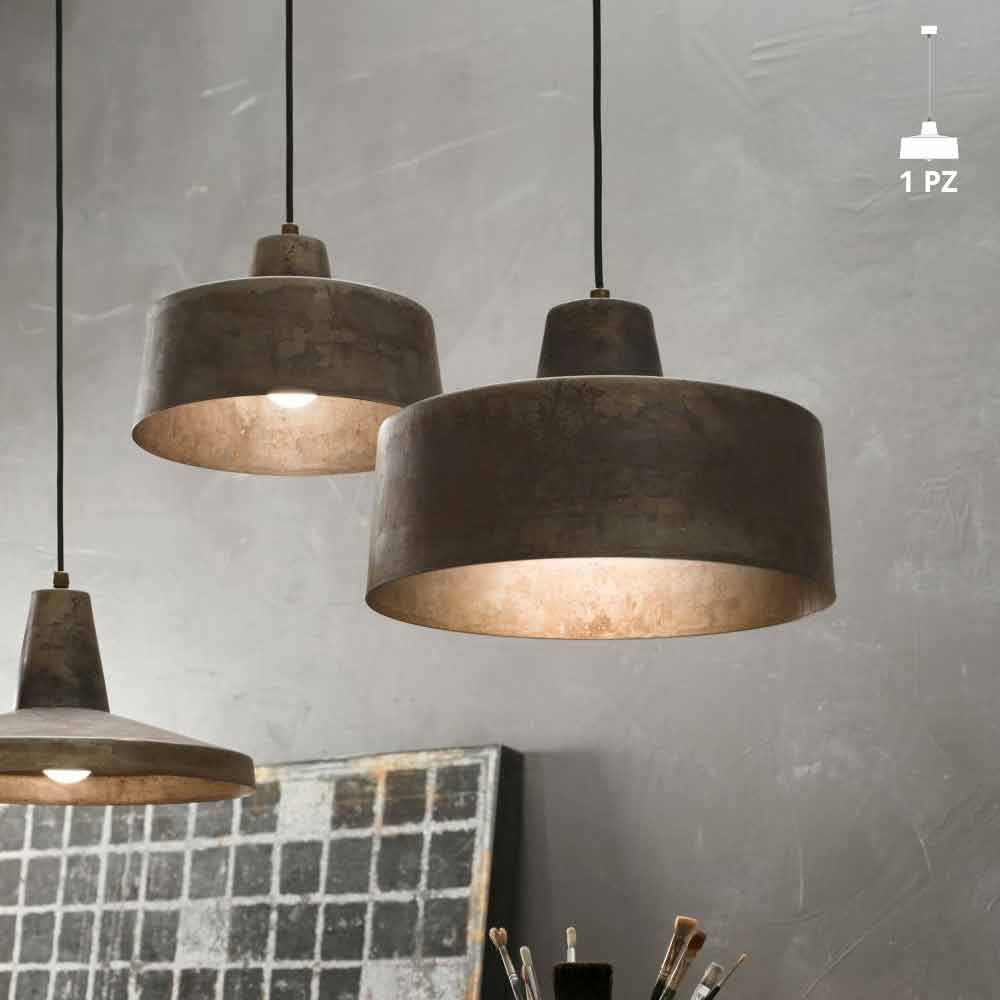 Suspension luminaire design industriel en fer vieilli jean for Suspension luminaire exterieur design