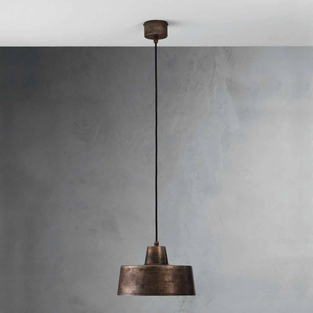 Suspension luminaire design industriel en fer vieilli jean for Luminaire suspension industriel