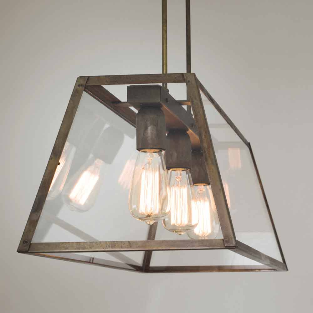 Suspension en verre et fer style industrielle london il fanale - Lampe suspension industrielle ...