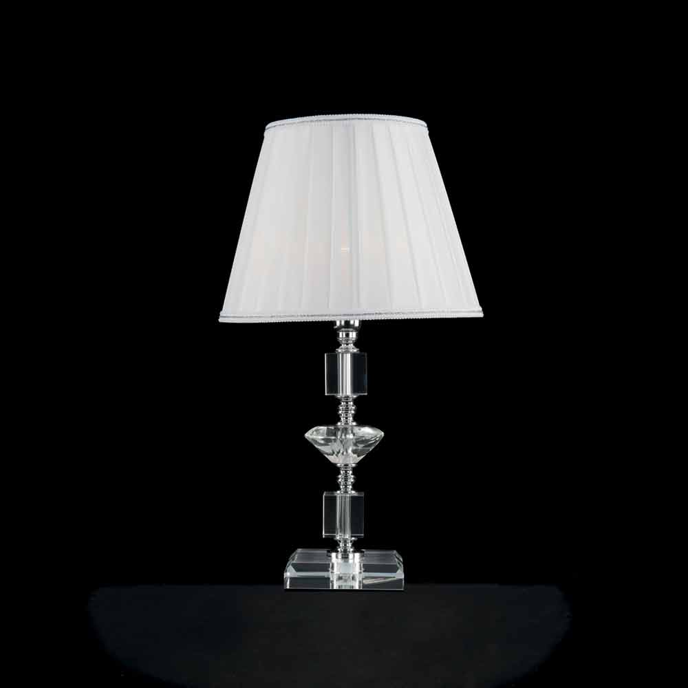 lampe de table en verre transparent et cristal ivy faite en italie. Black Bedroom Furniture Sets. Home Design Ideas