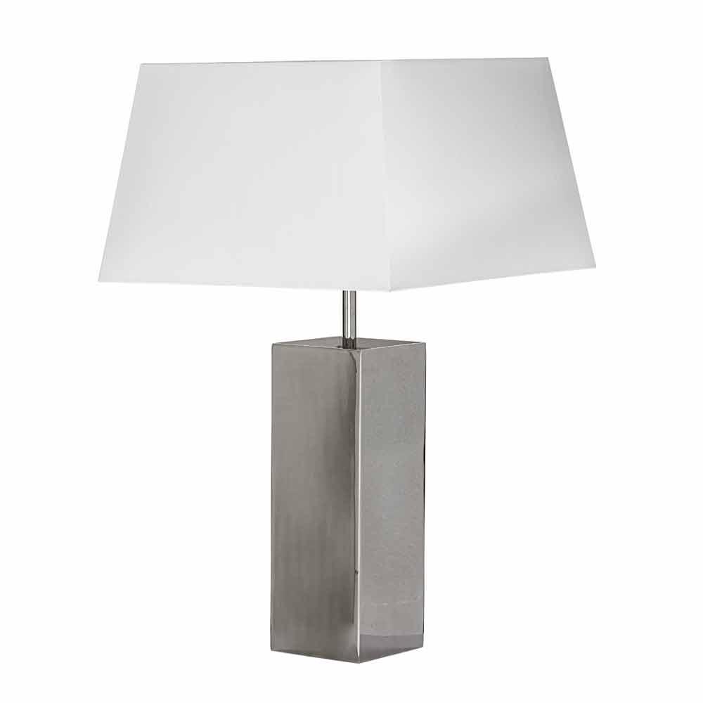 lampe de table moderne en acier et abat jour blanche renna. Black Bedroom Furniture Sets. Home Design Ideas