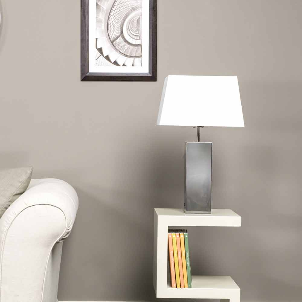 Lampe de table moderne en acier et abat jour blanche renna - Abat jour design moderne ...