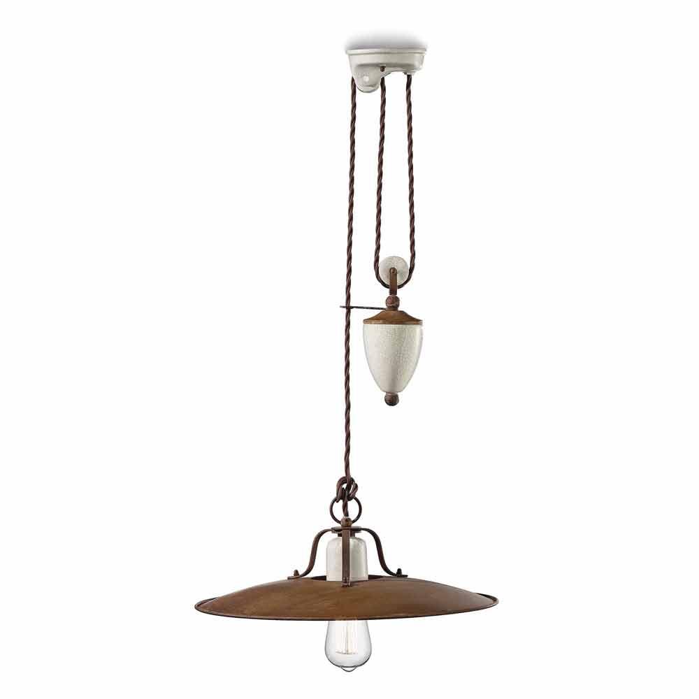lampe monte baisse artisanale en c ramique et m tal kristen ferroluce. Black Bedroom Furniture Sets. Home Design Ideas