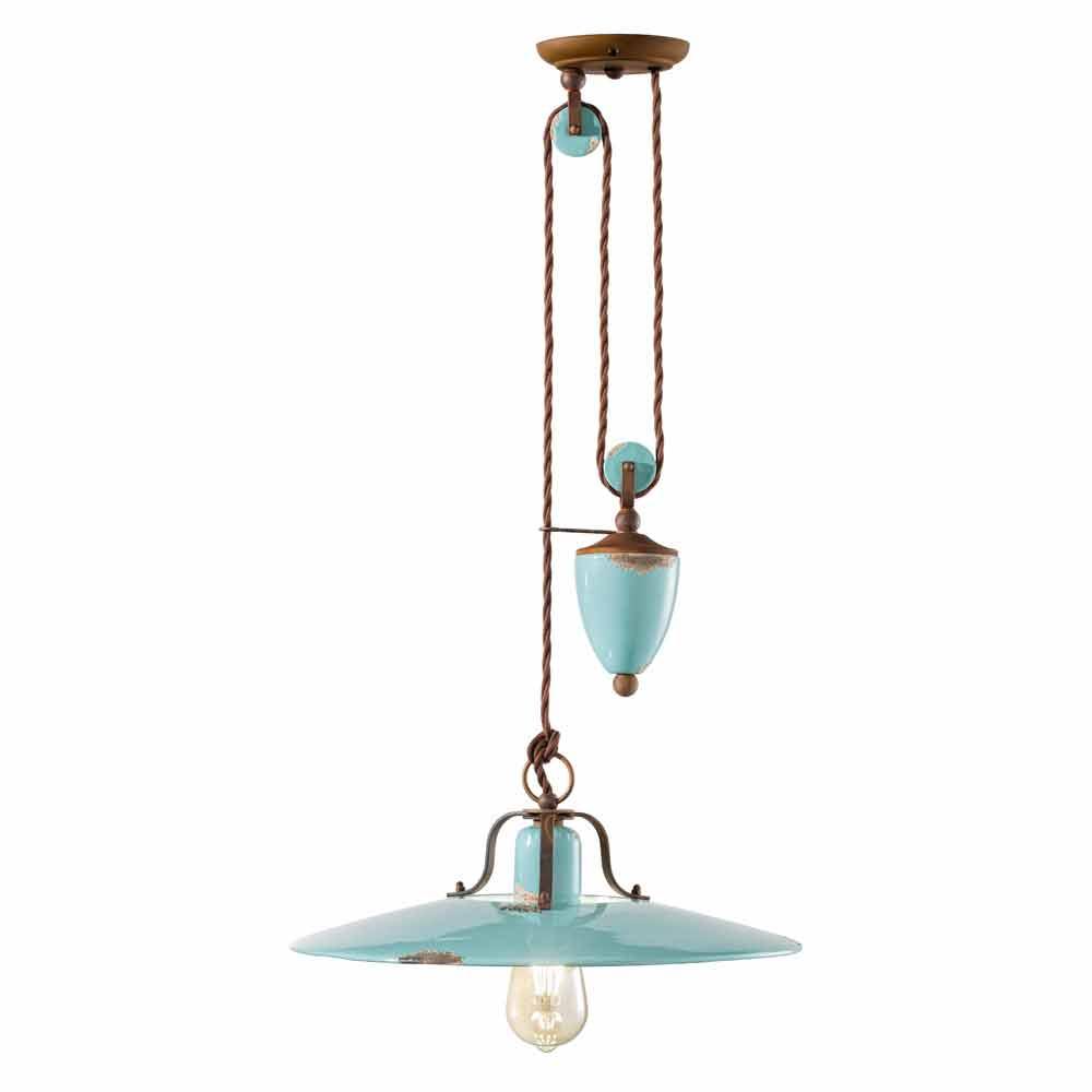 lampe monte baisse country en m tal et c ramique evelyn artisanale. Black Bedroom Furniture Sets. Home Design Ideas