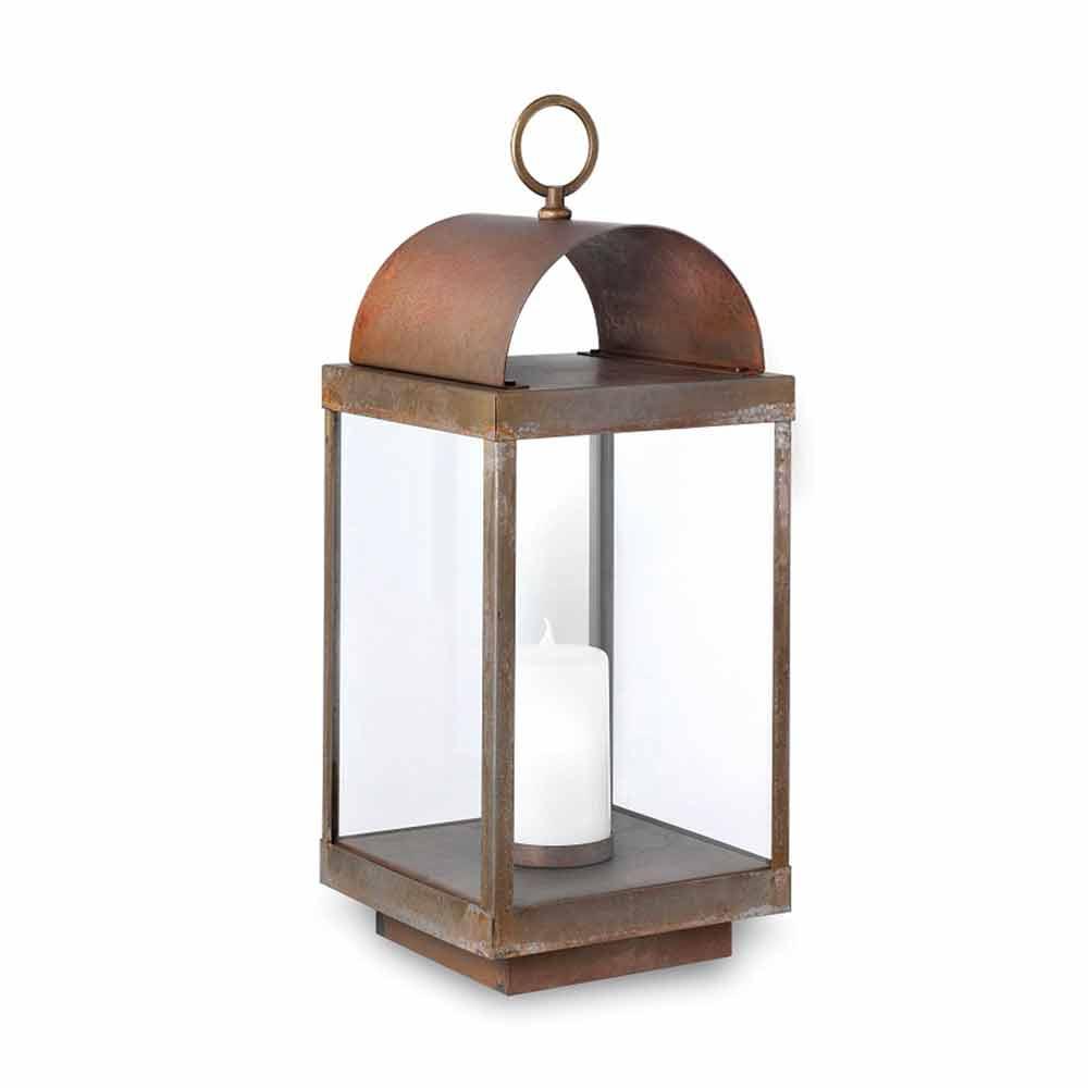 Lanterne de jardin avec bougie en fer ou laiton il fanale - Lanterne avec bougie exterieur ...