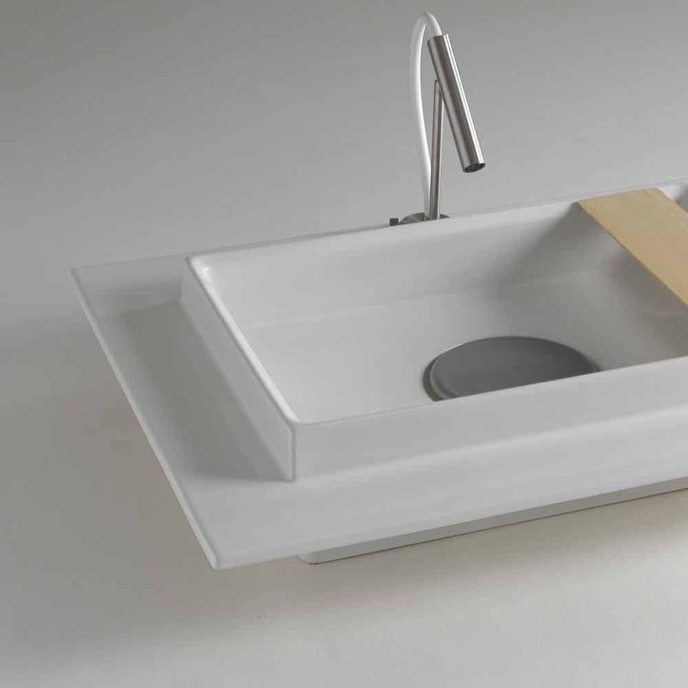 Salle De Bains Bassin En Céramique Design Moderne Rectangulaire Fred