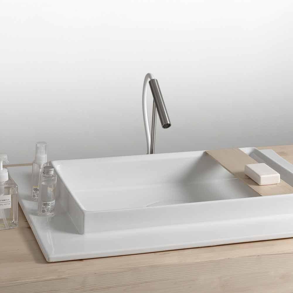 lavabo sale de bains rectangulaire en c ramique design. Black Bedroom Furniture Sets. Home Design Ideas