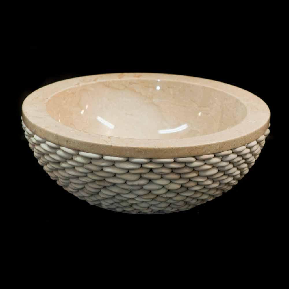 vasque poser ronde en pierre naturelle blanche banjo. Black Bedroom Furniture Sets. Home Design Ideas