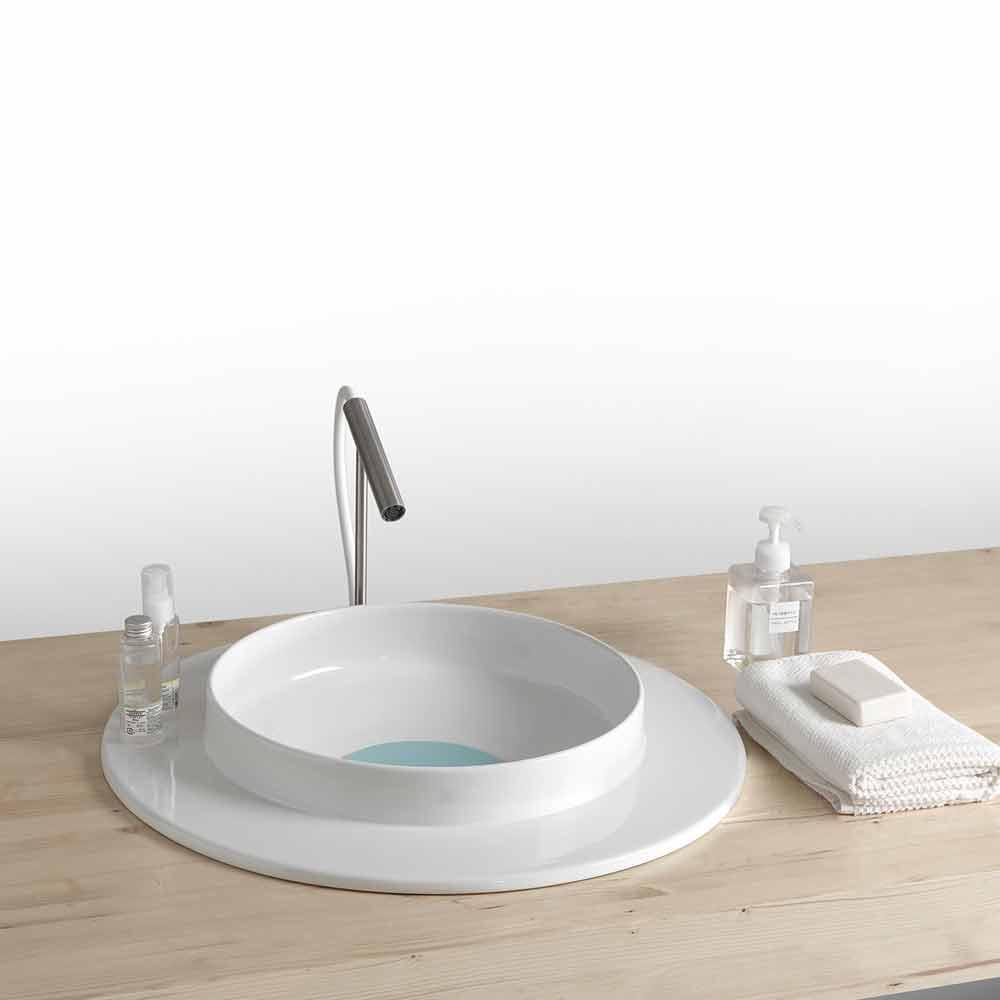lavabo rond pour sale de bain en c ramique design moderne. Black Bedroom Furniture Sets. Home Design Ideas
