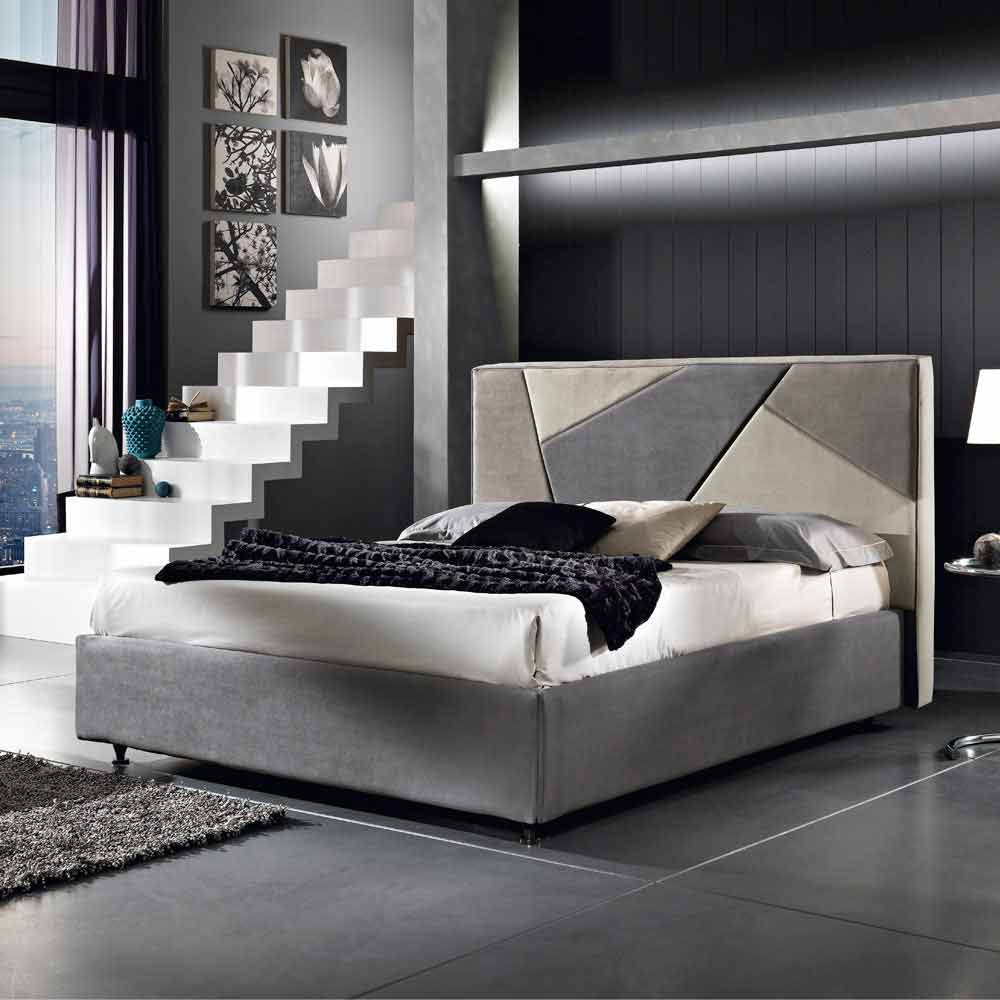 lit double rembourr avec coffre mia 160x190 200 cm design moderne. Black Bedroom Furniture Sets. Home Design Ideas