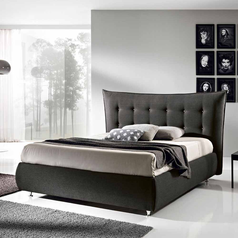 lit double rembourr avec coffre 160x190 200cm aida design moderne. Black Bedroom Furniture Sets. Home Design Ideas