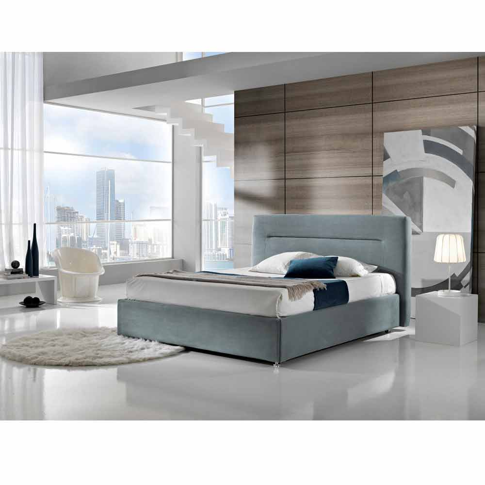 lit double rembourr design moderne avec coffre 160x190 200 cm sun. Black Bedroom Furniture Sets. Home Design Ideas