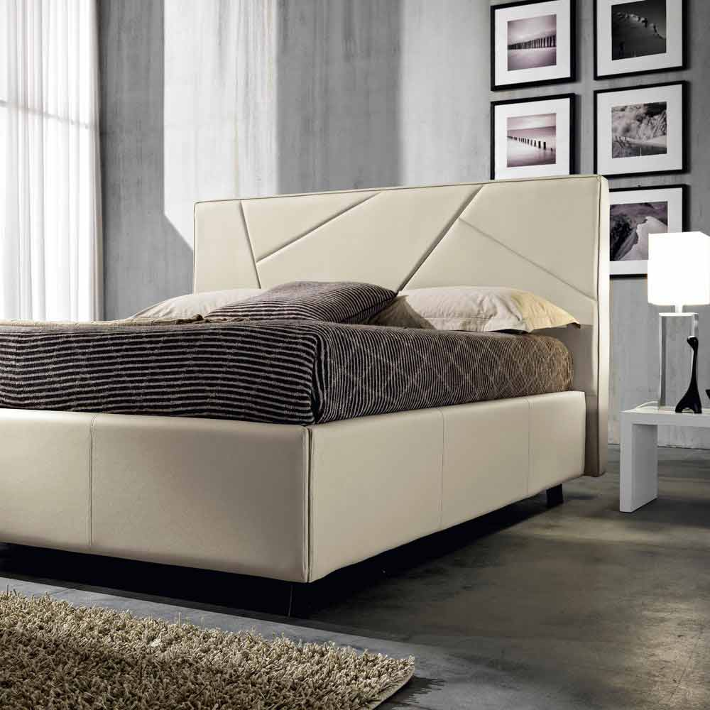 lit double en faux cuir avec coffre 160x190 200 cm mia design moderne. Black Bedroom Furniture Sets. Home Design Ideas