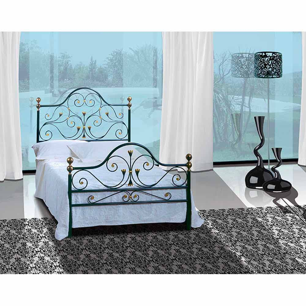 lit une place et demie en fer forg fenice fait la main en italie. Black Bedroom Furniture Sets. Home Design Ideas