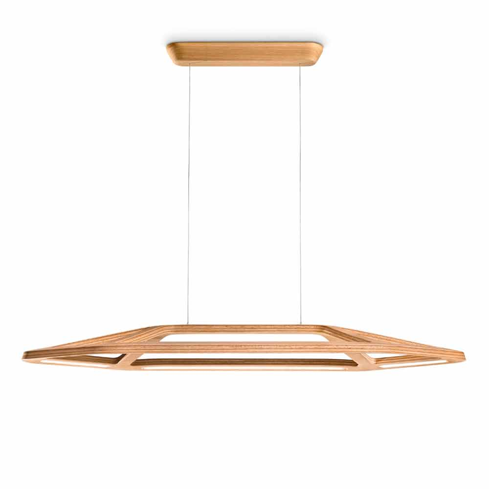 Leucos aki s lampe suspension led en bois e for Lampe suspension bois