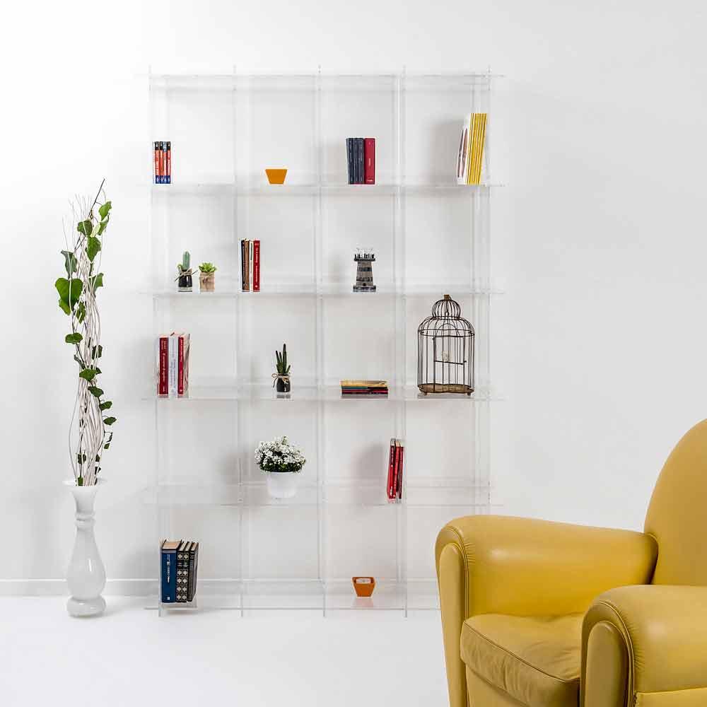 Biblioth que de design moderne en plexiglas transparent - Mobili in plexiglass ...