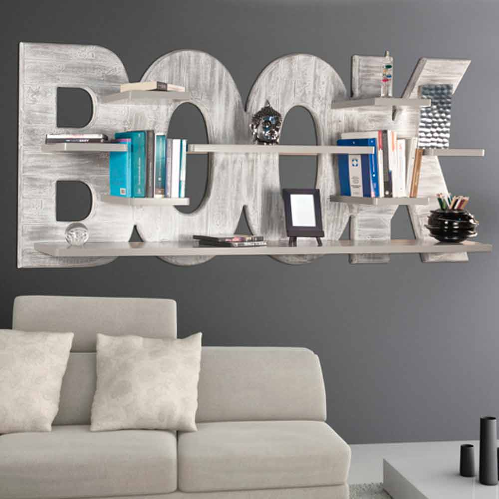 biblioth que murale de design moderne avec 8 tag res rhonda. Black Bedroom Furniture Sets. Home Design Ideas